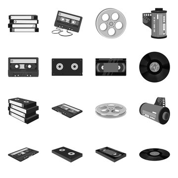 Vector design of device and player icon. Set of device and equipment stock vector illustration.