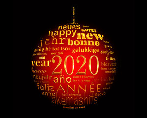 2020 new year , red black and gold multilingual text word cloud greeting card in the shape of a christmas ball