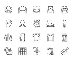 Clothes size flat line icons set. Body measurement waist circumference, hip, chest, sleeve length, height vector illustrations. Outline signs clothing sizes table. Pixel perfect 64x64 Editable Stroke