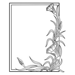 Decorative frame with floral elements.