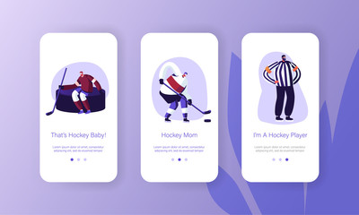 Hockey Players on Ice Rink Mobile App Page Onboard Screen Set. Winter Sport Game Competition. Sportsmen and Referee Playing on Stadium Concept for Website or Web Page, Cartoon Flat Vector Illustration
