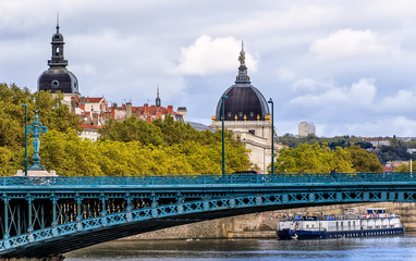 Lyon, France - Skyline with the Hotel Dieu (former hospital) in the background and the Rhone River
