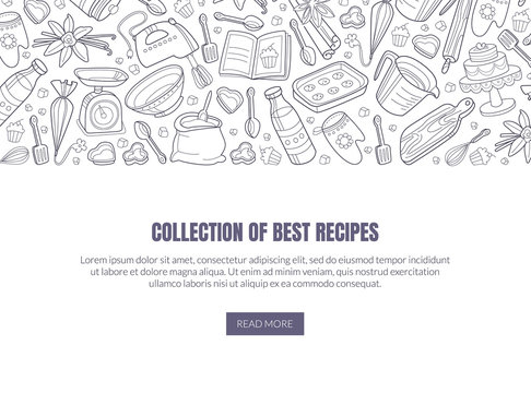 Template for a collection of the best recipes. Vector illustration on a white background.