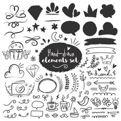 Hand drawn doodle elements set.
