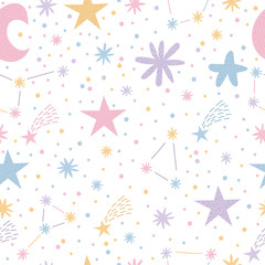 Estores personalizados infantiles con tu foto Childish seamless pattern with cute moon and stars. Nursery baby background. Creative kids texture for fabric