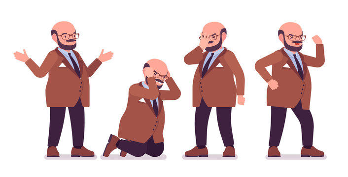 Chubby heavy man with belly negative emotions. Overweight, fat body shape. Middle age bold guy, kind civil service worker. Big men fashion plus size formal wear. Vector flat style cartoon illustration