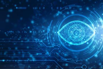 Biometric screening eye, Digital eye, Security concept, cyber security Concept, Technology Concept background Wall mural