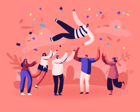 Friends Birthday Party, Business Success Congratulation. Team of Young People Tossing Up in Air Man with Confetti Flying Around. People Celebrating Victory Achievement Cartoon Flat Vector Illustration