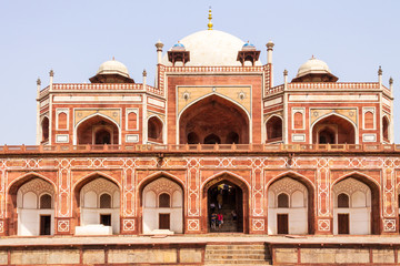 Details of Central Entrance of Humayun Tomb Complex. UNESCO World Heritage in Delhi, India. Asia.