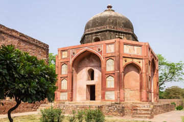 Panorama of Barber's Tomb, side Building of Humayun Tomb Complex. UNESCO World Heritage in Delhi, India. Asia.