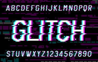 Glitch alphabet font. Pixel distorted letters and numbers. 80s arcade video game typescript.