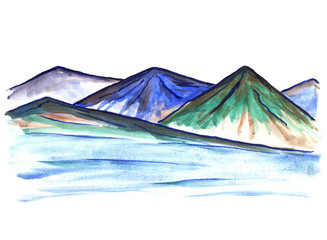Bright color hand drawn mountain landscape. Watercolor illustration for travel, tourism, nature design.