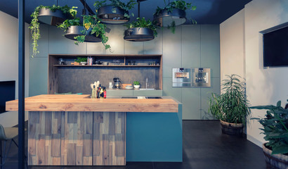 interior of modern kitchen with seasonal elements
