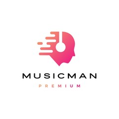 music man human head with headphone logo vector icon illustration