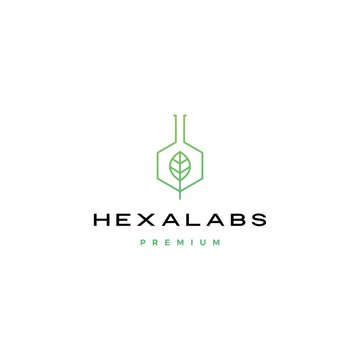 hexagon leaf nature lab hexalabs logo vector icon illustration
