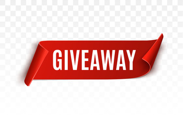 Giveaway red ribbon for social media post.