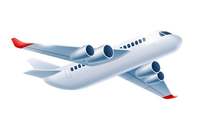 Vector realistic airplane aircraft white 3d mockup