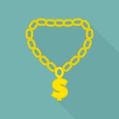 Rapper gold chain icon. Flat illustration of rapper gold chain vector icon for web design