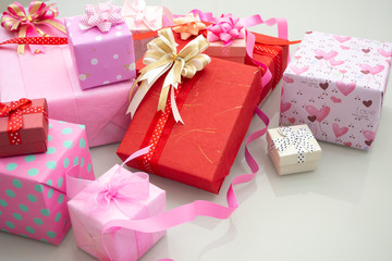 Close up craft gift boxes on white background,concept of a present for Christmas, new year, and celebration