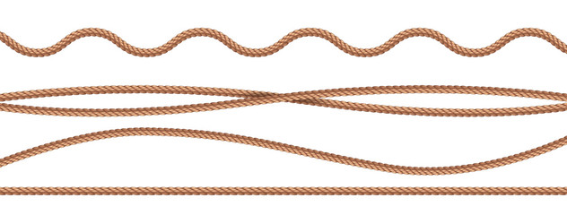 collection of various ropes string on white background. Vector illustration