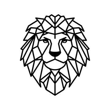 Geometrical polygonal head of lion. Vector illustration.
