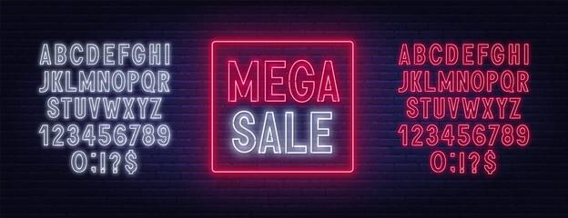 Fototapete - Mega sale neon sign on dark background. Discount template. Neon alphabet on a dark background. Template for design.