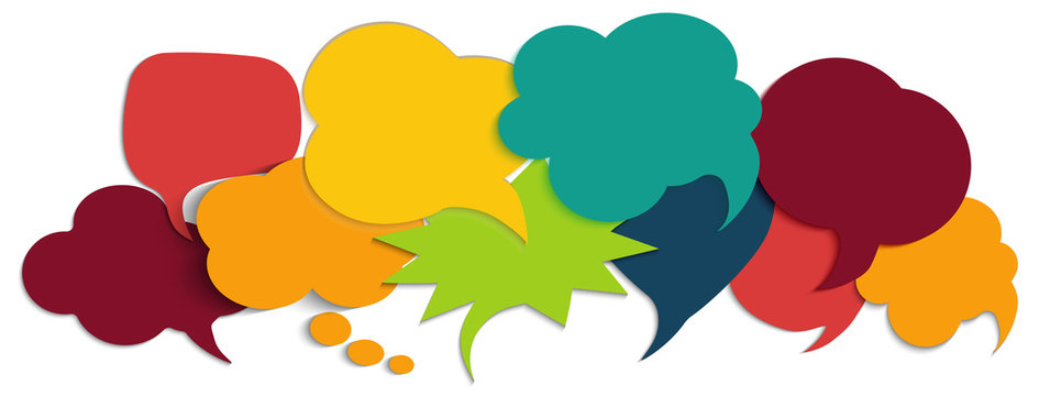 Colored speech bubble. Communication concept. Social network. Symbol talking and communicate. Colored cloud. Speak - discussion - chat. Friendship and dialogue diverse cultures