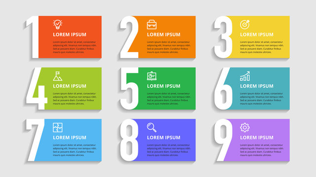 Nine colorful numbers or figures and rectangular elements or cards with place for text. Infographic design template. Creative vector illustration for business options, steps, processes.