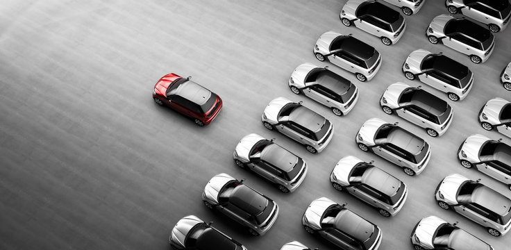 Small city cars fleet. A red car in front