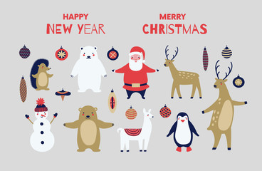 Christmas animals. Christmas greeting card.