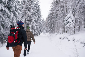 Fototapete - Couple hiking together along a snow covered forest path