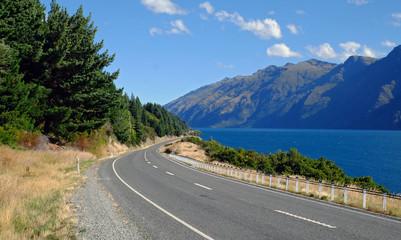 Queenstown to Te Anau road & Lake Wakatipu, Otago, New Zealand