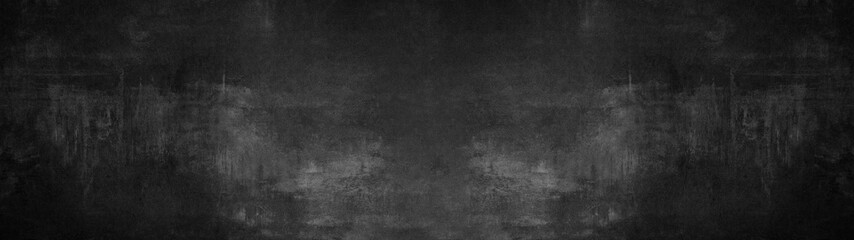 Poster Stenen black stone concrete texture background anthracite panorama banner long