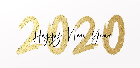 Happy New Year 2020 with calligraphic and brush painted with sparkles and glitter text effect. Vector illustration background for new year's eve and new year resolutions and happy wishes Fotomurales