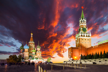 Tuinposter Moskou Red Square, Moscow Kremlin at sunset. Moscow, Russia