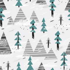Cute seamless pattern with mountains and trees. Creative scandinavian woodland background. Vector illustration. Childish illustration.