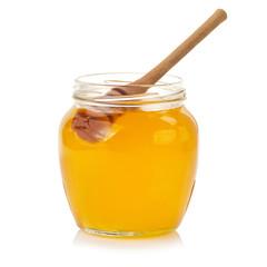 Fresh open honey jar with dipper , on white background.  3D illustration