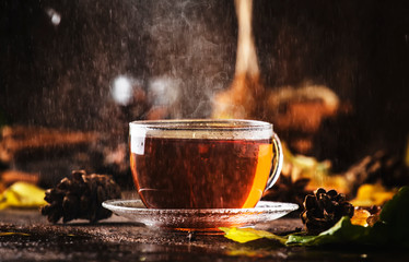 Foto op Plexiglas Thee Autumn hot black tea in glass cup, old wooden table background, selective focus