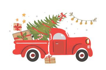 Christmas truck. Vintage vector illustration Christmas red truck with a Christmas tree.