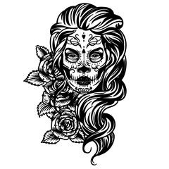 Vector hand drawn tattoo illustration of skull girl with roses. Skull sugar flower. Skull tattoo isolated on white.Day Of The Dead Skull.