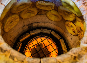 Puri Tandoor oven bread making in a bakery of Ninotsminda Samtskhe Javakheti region Georgia eastern Europe
