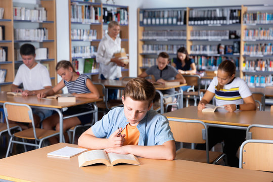 Schoolboy preparing for lesson with books in school library indoor