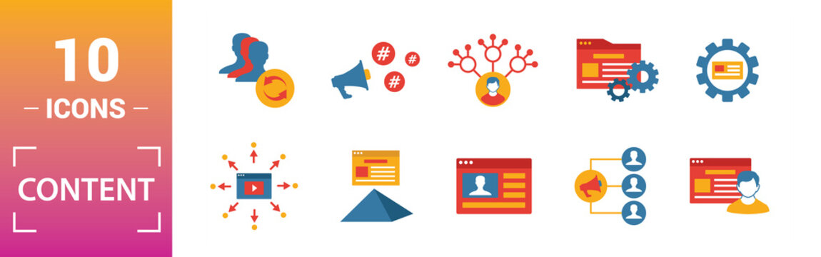 Content icon set. Include creative elements cms, content plan, digital content, viral marketing, media plan icons. Can be used for report, presentation, diagram, web design
