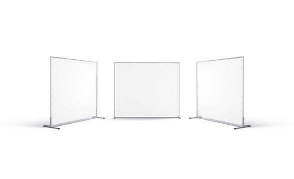 Blank white presswall mockup, front and side view, isolated