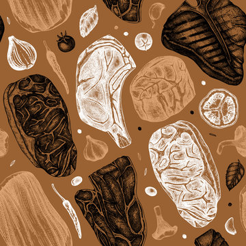 Beef steaks vector backdrop. Raw meat top view seamless pattern. Hand drawn cuts of beef, vegetables, spices. Steak house, meat restaurant menu design . Food for grill vintage background.