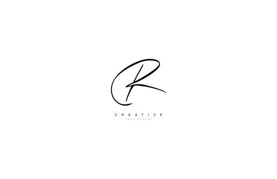 Letter R Logo Manual Elegant Minimalism Sign Vector