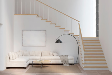 White living room with sofa, blank canvas, coffee table, lamp, and stairs. 3d illustration