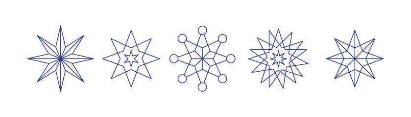 weihnachtliche Sterne linear gezeichnet- Set mit 5 icons