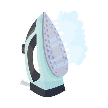 Light blue iron. Vector illustration on a white background.