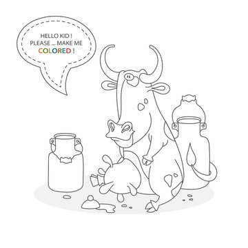 Black and white coloring book page. Cartoon character of a funny cute dairy cow and milk cans. Card from a set for the development of children. Vector illustration